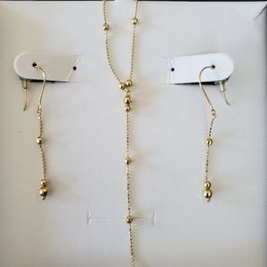 Jewelry - 14K Gold Beaded Lariat Necklace and Earrings NWT